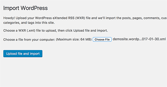 Upload WordPress import file