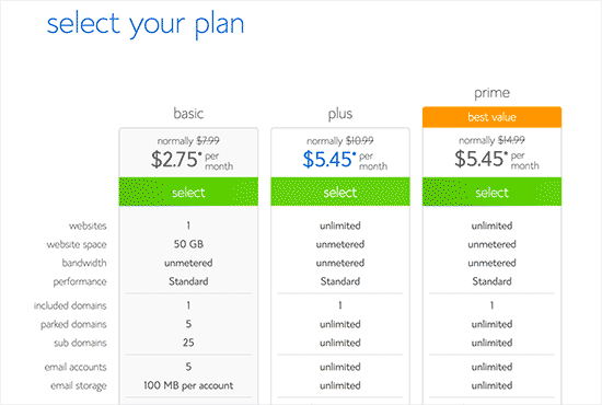 Select your hosting plan