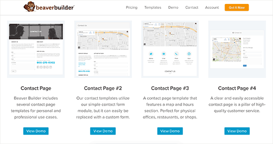 Contact page templates in Beaver Builder