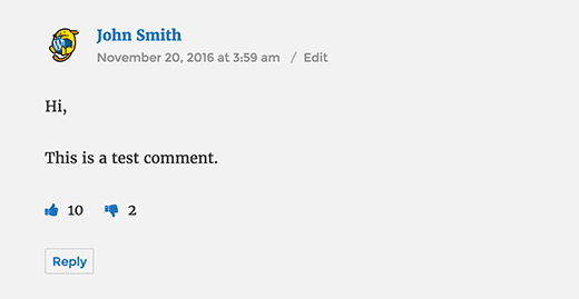 WordPress comment with like dislike buttons