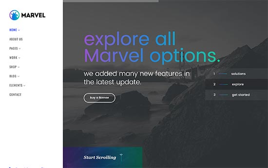 marvel is uniquely designed wordpress theme for resume websites it features a two column layout with a sticky sidebar on the left and a full screen slider