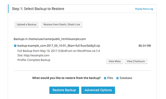 Select your backup file