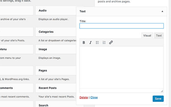 Text widget with visual and text editors in WordPress 4.8