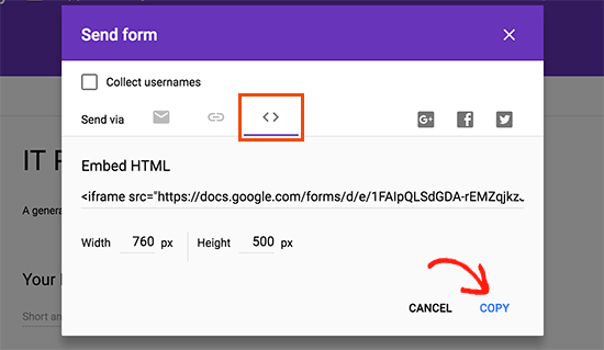 Copy your Google Forms embed code
