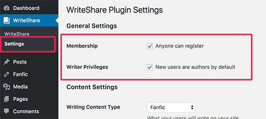 Enable membership and writing privileges