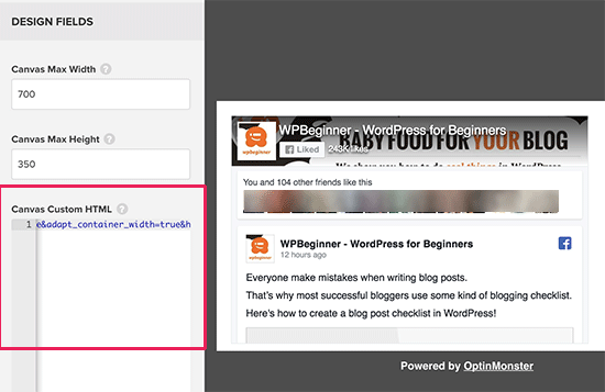 Paste your Facebook page like box code