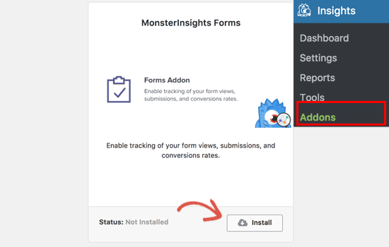 Install Forms Addon for MonsterInsights