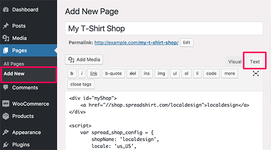 Creating your tshirt shop page in WordPress