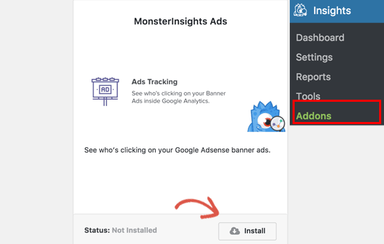 Ads tracking addon