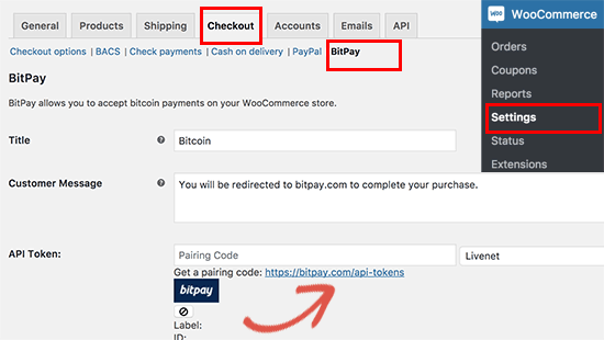 Setting up BitPay in WooCommerce