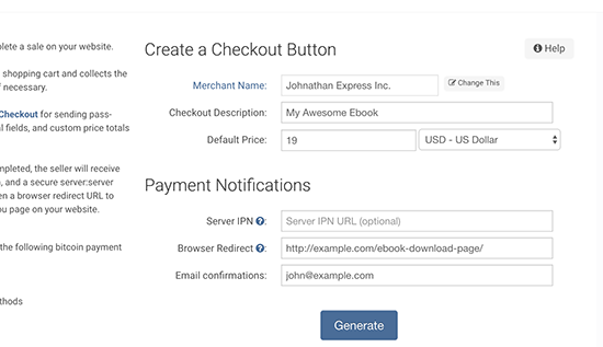 Generating checkout button
