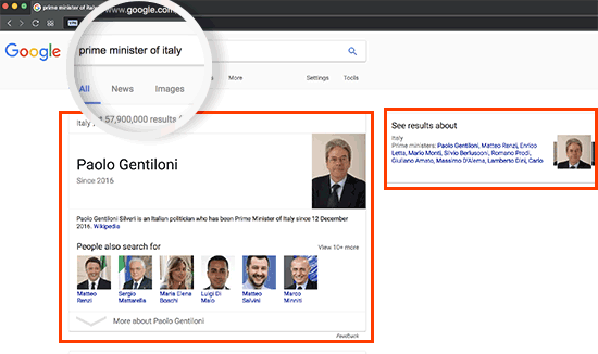 Instant answer in Google Search result using Knowledge Graph