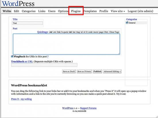 WordPress 1.2 Mingus User Interface