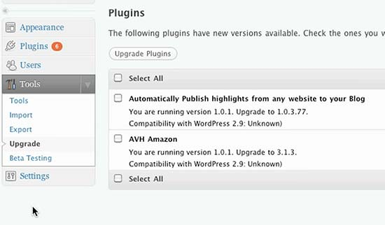 WordPress 2.9 Plugin update screen