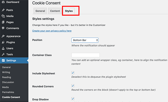 Cookie consent popup notification style