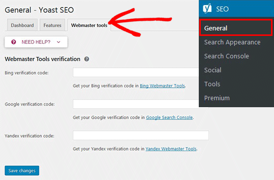 Yoast General SEO Settings