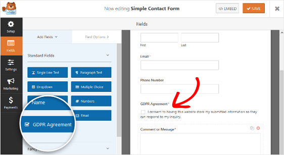 GDPR Form Fields in WPForms