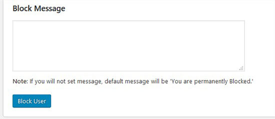 Custom message for blocked users