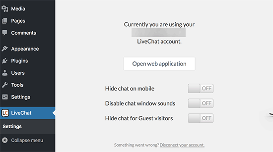 LiveChat settings for WordPress