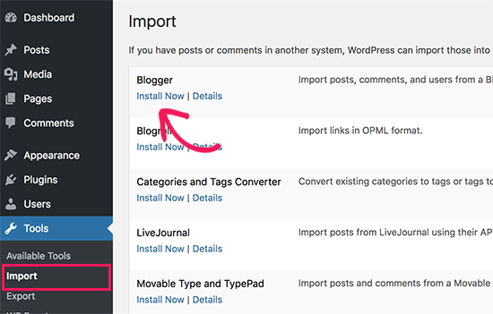Install Blogger importer for WordPress