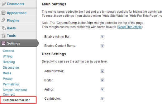 WP Custom Admin Bar Settings