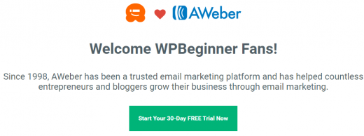 Get our exclusive AWeber deal