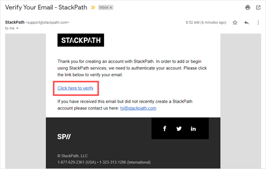 Verify your email address for StackPath