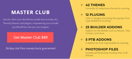 "The best Themify deal is on their ""Master Club"" membership"