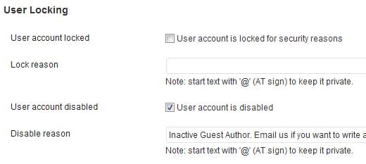 User Locker Profile Page Settings
