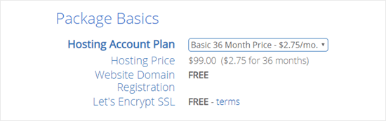 Bluehost defaults to the 36 month plan (best value) but you can change this