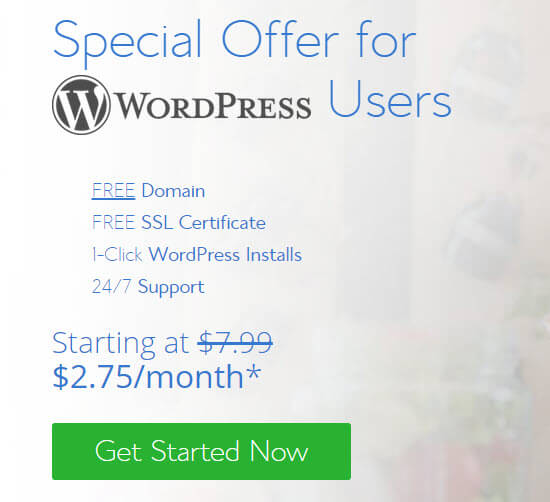 Bluehost special offer for WPBeginner users