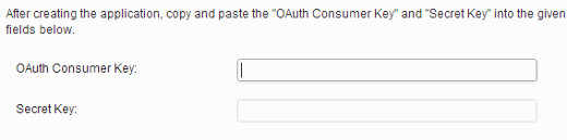 Enter OAuth and Secret Keys