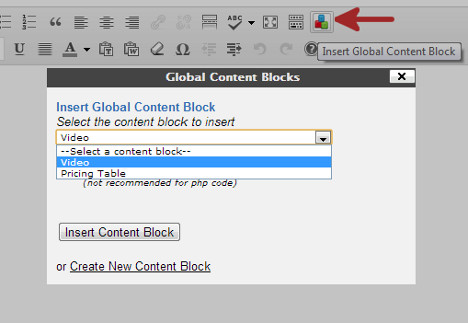 Insert content block in a post