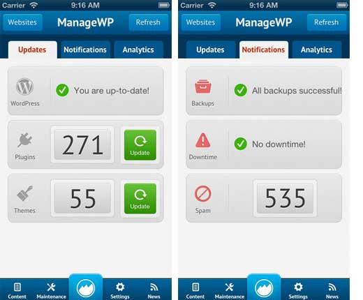 ManageWP iOS App