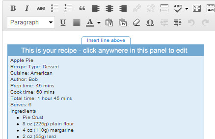 Recipe in Post Editor
