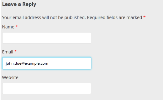 Highlighting the active form field in WordPress comment form