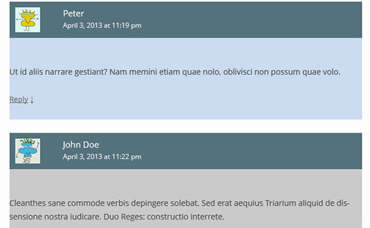 Styling comment meta and author information in WordPress comments