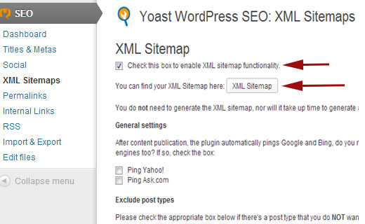 enable xml wordpress sitemaps in wordpress seo plugin