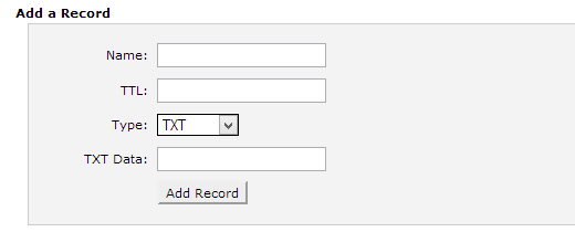 Adding TXT record using cPanel