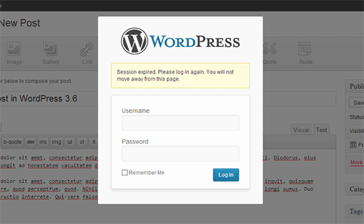 Improved session handling with log in notifications in WordPress 3.6