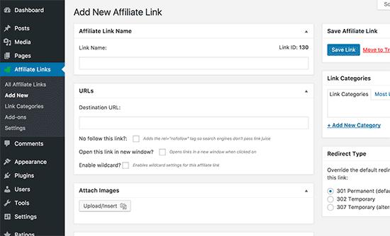 Add new affiliate link in WordPress using ThirstyAffiliates