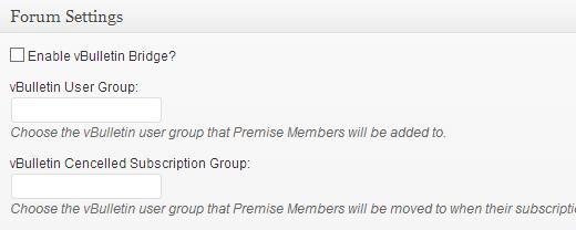 Enabling vBulleting Forum Settings for your Premise Members
