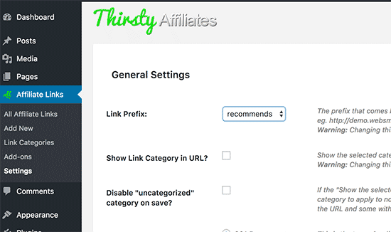 ThirstyAffiliates settings page