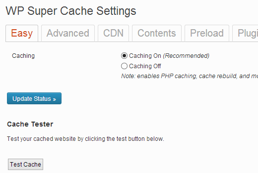 Turning on Cache in WP Super Cache for WordPress