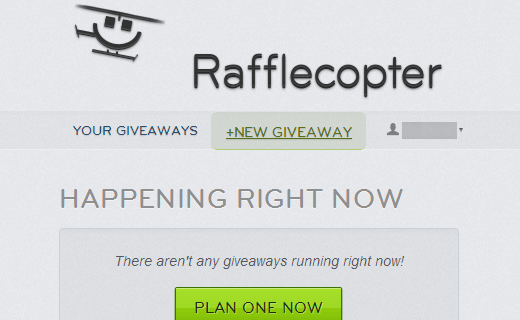 Creating a new giveaway with Rafflecopter