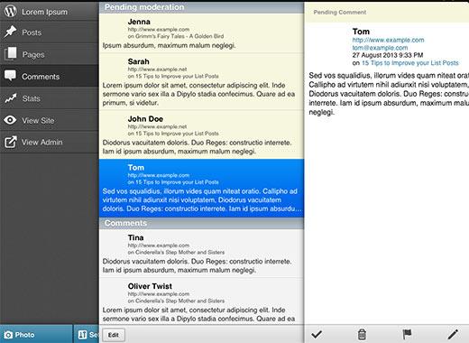 Reacties beheren in de WordPress-app voor iOS