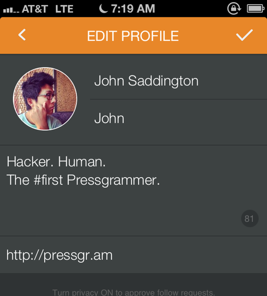 Editing your Pressgram profile