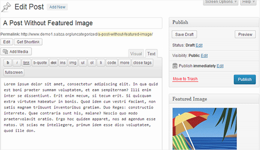 A user can publish a post after uploading a featured image