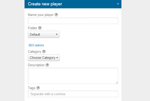 Creating a new player in Viewbix