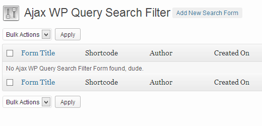 Add new Ajax Search Form in WordPress